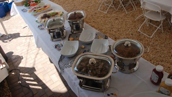 beach wedding food table