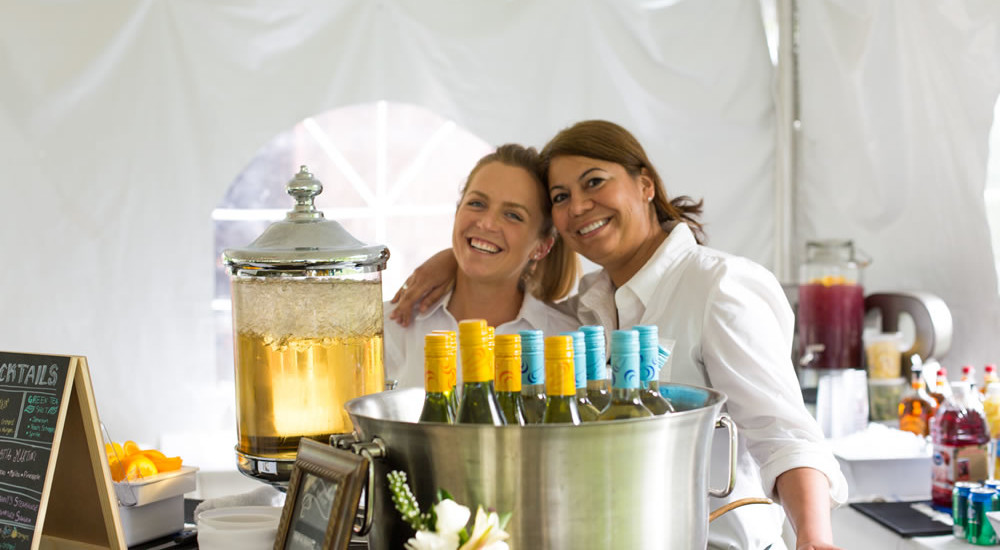 farm to table wedding. bartenders ready to serve